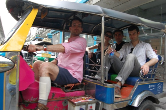 The fam in a tuk tuk